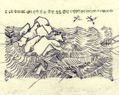 Print in Scrimshaw style, traditional landscape.