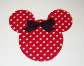 Iron On Applique RED And White Polka Dots MINNIE MOUSE With Black Bow