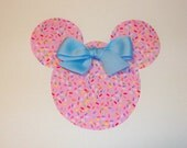Iron On Applique PINK Birthday Party Sprinkles MINNIE MOUSE With Blue Bow