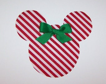 Iron On Applique Peppermint Red CHRISTMAS MICKEY Mouse With GREEN Bow