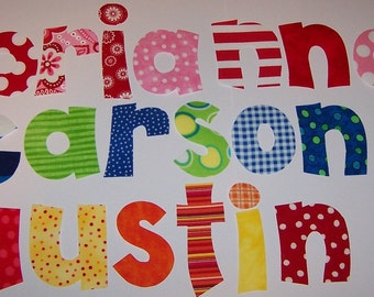 Iron On Fabric Name Alphabet Letters Applique..... Pick A Name.....Pick A Color Combo