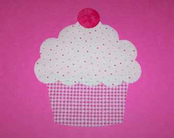 Iron On Fabric Applique Large Strawberry Sprinkle CUPCAKE