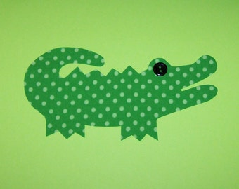 Iron On Applique Green Dots ALLIGATOR