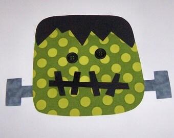 Iron On Fabric Applique FRANKENSTEIN with BUTTON Eyes