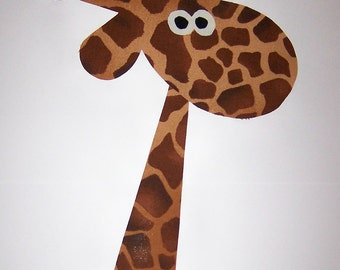 Iron On Fabric Applique X Large Giraffe...Sew onto size 3T or larger from bottom seam...CUTE...see size posted