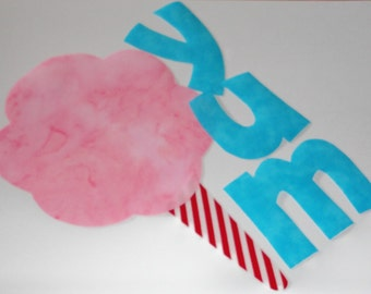Iron On Applique Pink COTTON CANDY and YUM Letters For Carnival Circus or Birthday Party Shirt