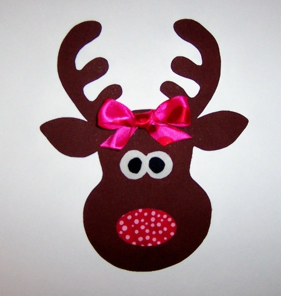 Girl Reindeer Applique Christmas Girl Reindeer