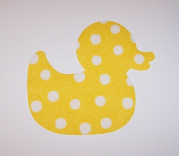 Iron On Fabric Applique Polka Dots On Yellow RUBBER DUCK