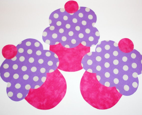 SPECIAL......3 Iron On Applique Hot Pink And PURPLE Polka Dot CUPCAKE