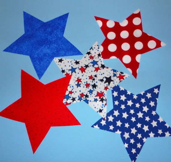 5 Iron On Applique July 4th Assorted STARS