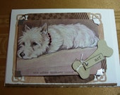 Handmade greeting card featuring the adorable Scottie dog.