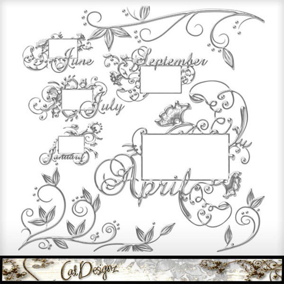 A Year in  Silver Frames Printable Digital Scrapbooking Embellishments Scrap4Hire Friendly Clipart