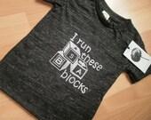 Kid's Eco-Friendly I Run These Blocks screen print T shirt 6-12 months Charcoal