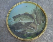 Vintage Fishing Bass Tin Metal Plate Tray Platter