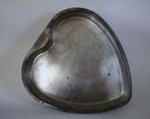 Vintage Tin Heart Cake Plate Valentine Ready