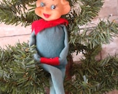 Vintage Christmas Sitting Elf From 1950s Red an Green