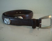 Vintage Belt Hand Tooled Western Leather Brown Silver Fish