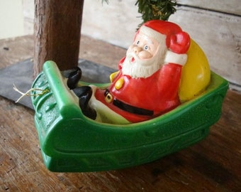 Vintage Christmas Santa In Sleigh Friction Toy Sweet