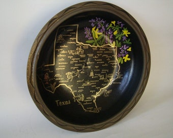 Vintage State of Texas Tin Metal tin Bowl