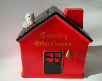 Vintage Little Red School House Bank Lego Japan