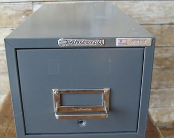 Vintage Gray Shabby Metal Industrial File Box SteelMaster New York