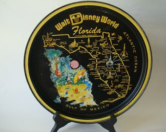 Vintage Walt Disney World Tin Metal Plate Tray Platter