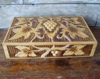 Vintage Ornate Wooden Box Great woods