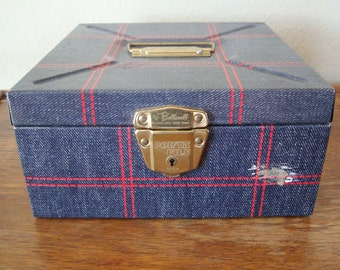 Vintage Industrial Small Blue an Red Metal File Box