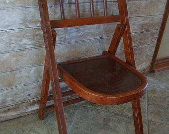 Vintage Wooden Folding Childs Chair Lovely