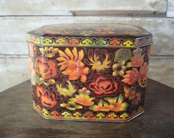 Vintage Fall Colored 1960s  Made in England Tin