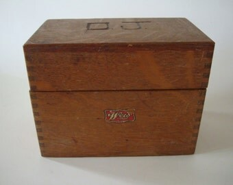 Vintage Wooden Dovetailed Recipe Box 1950s to 60s