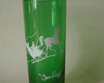 Vintage Christmas Forest Green Tall Boy Tumbler Glass Embossed With Open Sleigh