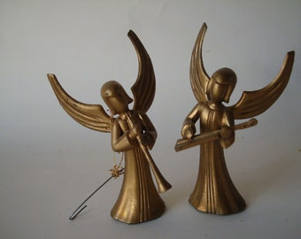 Vintage Christmas Musical Angels Gold Set of 2 Ornaments 1950s