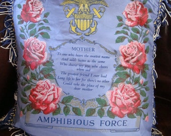 Vintage Satin 1940s US Navy Mother Pillowcase Cover Roses an Poem