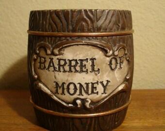 Vintage Bank Barrel of Money