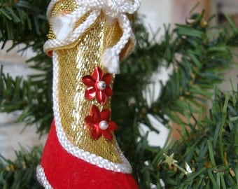 Vintage Red Felted Beaded Sequined Christmas Boot Ornament