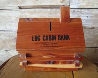 Vintage Bank Log Cabin Sugarcreek Ohio