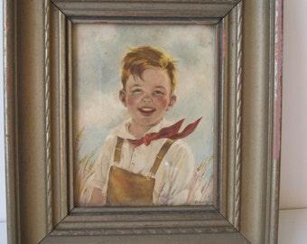 Vintage Gold Framed Farm Boy Picture Jack Adorable