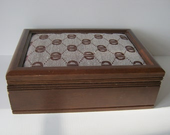 Vintage Valet or Jewelry Box For Men or women London Leather Wood an Fabric