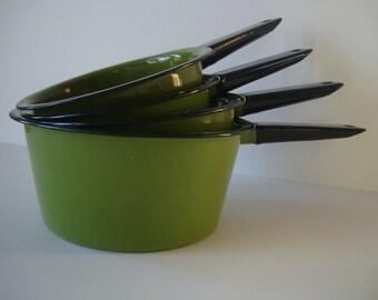 Vintage Apple Green or Avacado Enamelware Pots set of 4 Retro