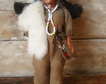 Vintage Skookum Native American Indian Doll With Pack Suede