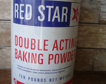 Vintage Red Star Baking Powder Tin 10lb Tin