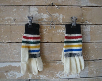 Vintage Gloves Child's Cream and Rainbow Colors Sweet Pair