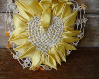 Vintage Pin Cushion Heart Yellow Satin an White Doily Crocheted Lace