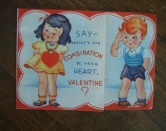 Vintage Valentine Card 1940s Red Head Boy and Little Girl Adorable