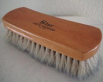 Vintage Wooden Shoe Brush 100% Horsehair Brazil