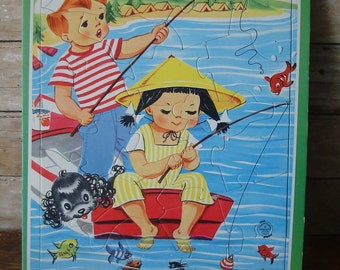Vintage Saalfield Puzzle  Frame Tray Little Boy An Girl Fishing
