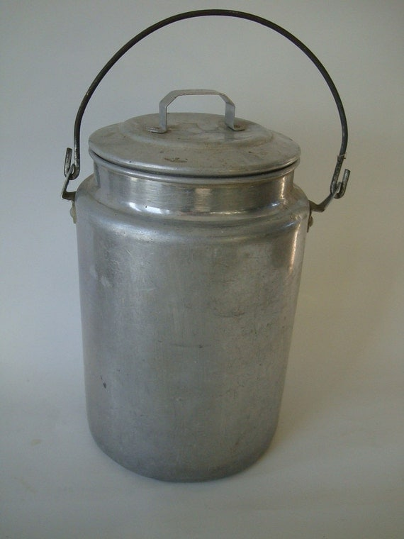 Antique Aluminum Milk Pail or Bucket