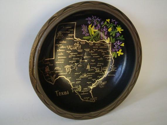 Vintage State of Texas Tin Metal tin Bowl