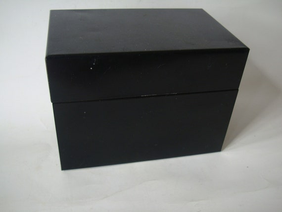 Vintage Black Shabby Metal Industrial Card File Box